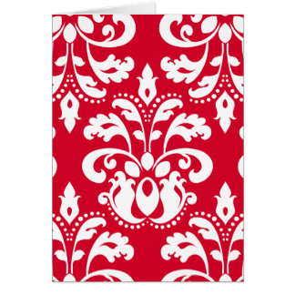 Red and white elegant Christmas damask blank Card