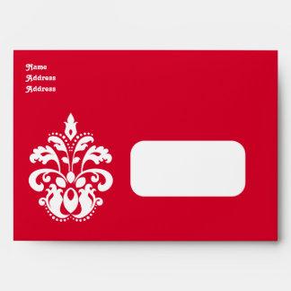 Red and white elegant Christmas damask for 5x7 Envelope