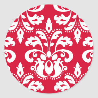Red and white elegant Christmas damask Stickers