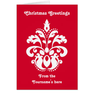 Red and white elegant Christmas damask version 1 Greeting Card