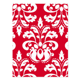 Red and white elegant Christmas damask version 1 Postcard