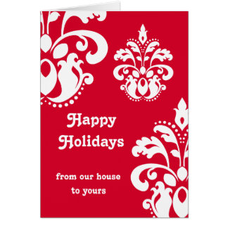 Red and white elegant Christmas damask version 3 Greeting Card