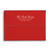 Red and White Elegant Holiday Greeting Card Envelope