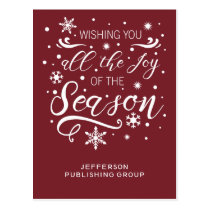 Red and White Elegant Modern Business holiday Postcard
