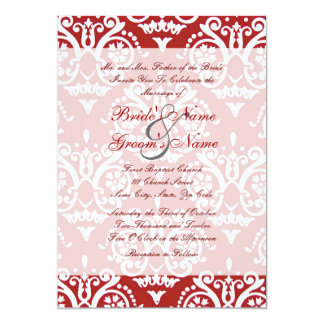 Red and White English Wedding Invitation