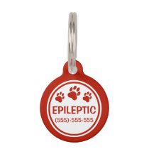 Red And White Epileptic Text With Custom Info Pet ID Tag