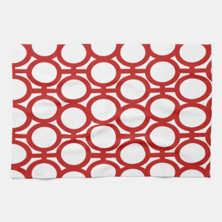 Red and White Eyelets Kitchen Towel