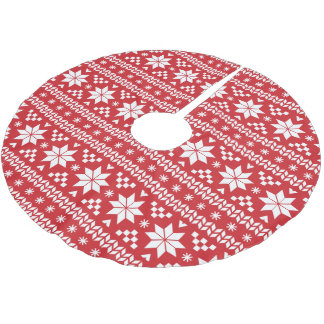 Red and White Fair Isle Pattern Tree Skirt