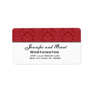Red and White Feathery Damask Wedding Collection Address Label