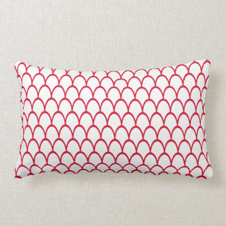 Red and White Fish Scale Pattern | Home Decor Lumbar Pillow