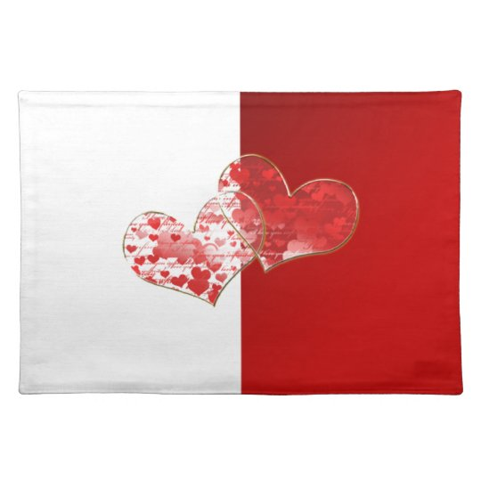Red and white flag of love cloth placemat