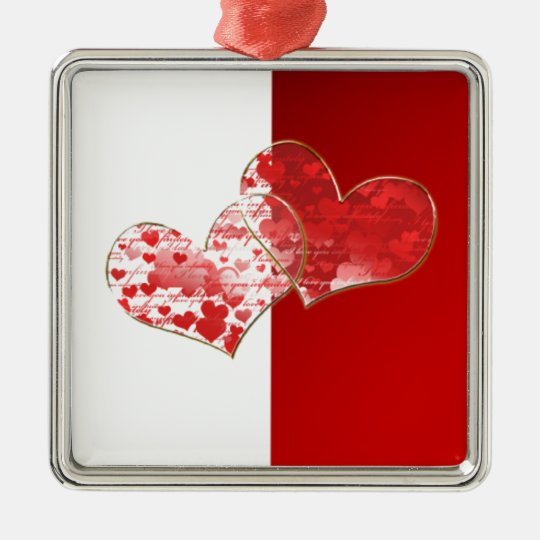 Red and white flag of love metal ornament