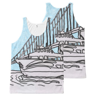 Red And White Fleet All-Over Print Tank Top