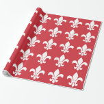 Red and White Fleur de Lys Gift Wrap
