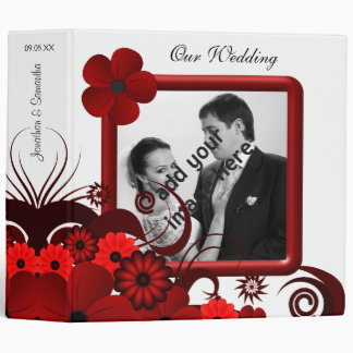 "Red and White Floral 2"" Wedding Guest Book Album Binder"