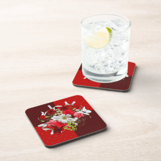 Red and White Floral Bouquet Coaster