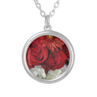 Red and white floral bouquet silver plated necklace