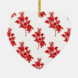Red and White Floral Ceramic Ornament