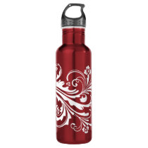 Red and White Floral Chic Water Bottle