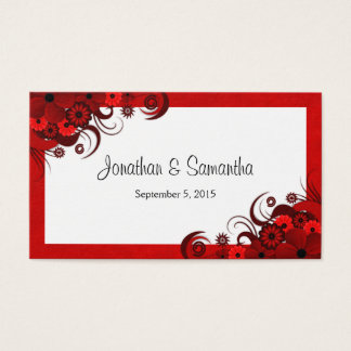 Red and White Floral Custom Wedding Favour Tags