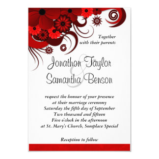 Red and White Floral Custom Wedding Invitation