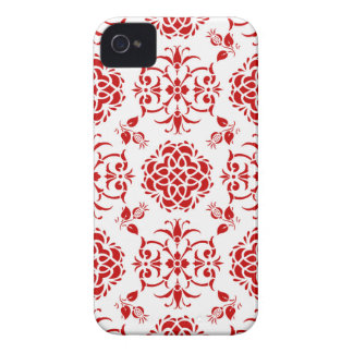 Red and White Floral Damask Style Pattern Case-Mate iPhone 4 Case