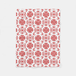 Red and White Floral Damask Style Pattern Fleece Blanket