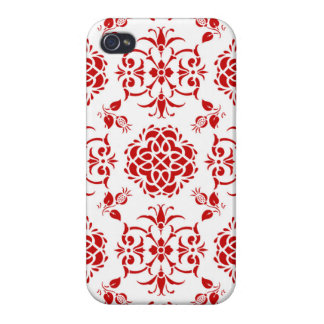 Red and White Floral Damask Style Pattern iPhone 4/4S Covers
