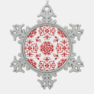 Red and White Floral Damask Style Pattern Ornaments