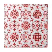 Red and White Floral Damask Style Pattern Tile