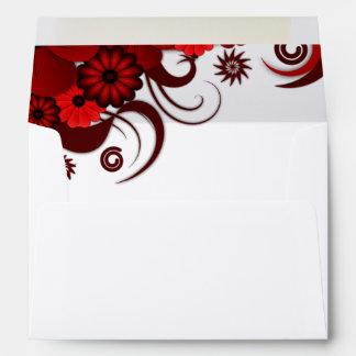 Red and White Floral Elegant Custom Envelopes