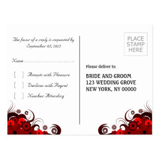 Red and White Floral Elegant RSVP Reply Postcards