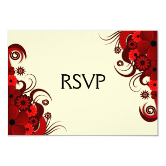 Red and White Floral Elegant RSVP Response Cards