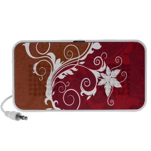 Red and White Floral Grunge Laptop Speaker