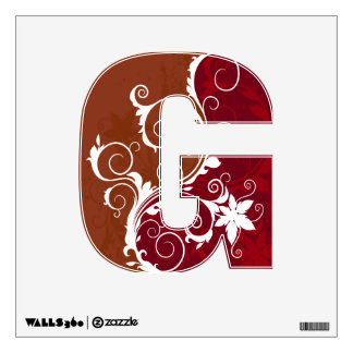 Red and White Floral Grunge Wall Decal
