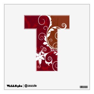 Red and White Floral Grunge Wall Sticker