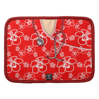 Red And White Floral Medical Scrubs Planner