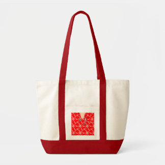 Red And White Floral Medical Scrubs Tote Bag