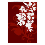Red and White Floral Notecard Greeting Card