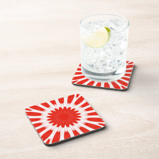 Red and White Floral Pattern Coaster