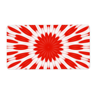 Red and White Floral Pattern Shipping Labels