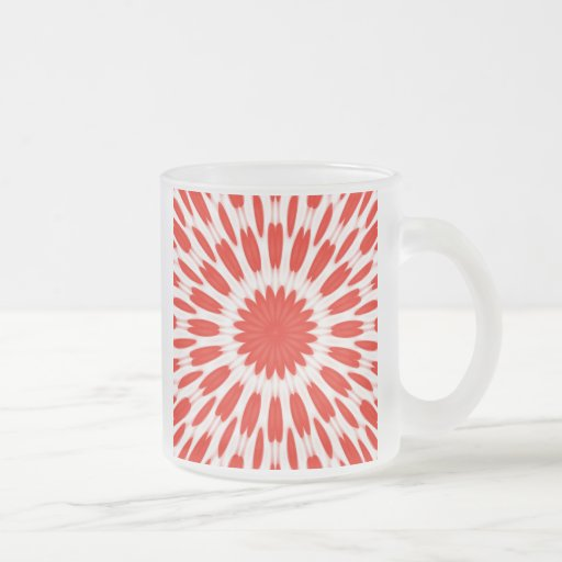 Red and White Floral Pattern 10 Oz Frosted Glass Coffee Mug