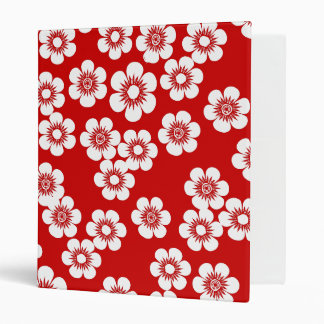 Red and white floral print pattern 3 ring binder