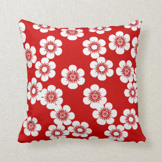 Red and white floral print pattern throw pillow