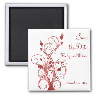 Red and White Floral Save the Date Magnet magnet