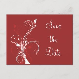 Red and White Floral Save the Date Postcard postcard