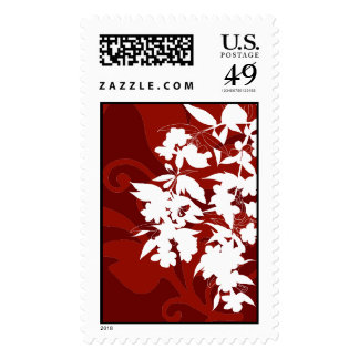 Red and White Floral Stamp