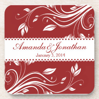 Red and White Floral Swirls  Wedding Coaster