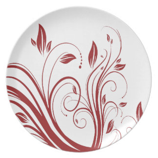 Red and White Floral Swirls  Wedding Dinner Plate