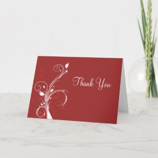 Red and White Floral Thank You Card card